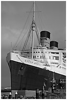 Queen Mary and Russian Submarine. Long Beach, Los Angeles, California, USA (black and white)