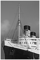 Queen Mary cruise ship. Long Beach, Los Angeles, California, USA ( black and white)