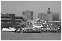Parkers Lighthouse and skyline. Long Beach, Los Angeles, California, USA ( black and white)