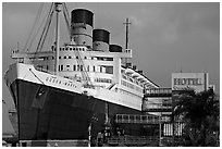 Queen Mary Hotel. Long Beach, Los Angeles, California, USA ( black and white)