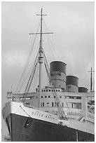 Queen Mary ship at sunset. Long Beach, Los Angeles, California, USA (black and white)