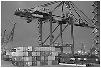 Countainers and cranes, Port of Los Angeles, dusk. Long Beach, Los Angeles, California, USA ( black and white)
