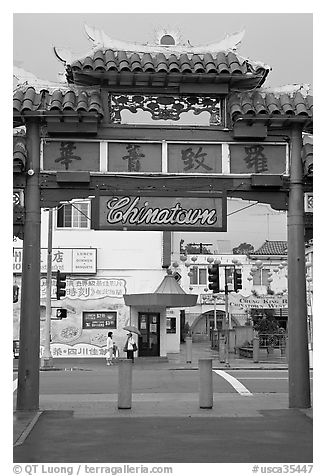 Gate, Chinatown. Los Angeles, California, USA (black and white)