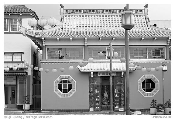 Building in Chinese style, Chinatown. Los Angeles, California, USA (black and white)