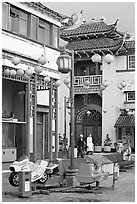 Rides and buildings in Chinese style, Chinatown. Los Angeles, California, USA ( black and white)