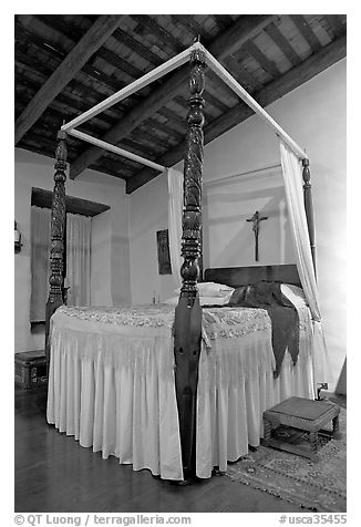 Bedroom in the Avila Adobe, Los Angeles  oldest building (1818). Los Angeles, California, USA (black and white)