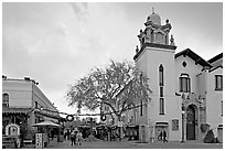 Church and Olvera Street, El Pueblo historic district. Los Angeles, California, USA (black and white)