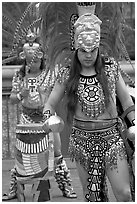 Aztec dancers performing, El Pueblo historic district. Los Angeles, California, USA (black and white)