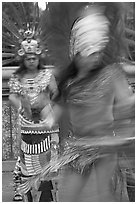 Aztec dancers with motion blur. Los Angeles, California, USA (black and white)