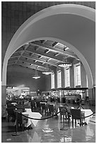 Central hall in Union Station. Los Angeles, California, USA ( black and white)