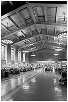 Interior of Union Station. Los Angeles, California, USA ( black and white)