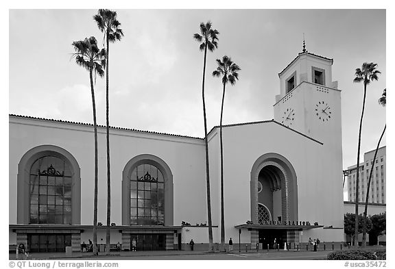 Union Station in mixed Art Deco and Mission styles. Los Angeles, California, USA (black and white)