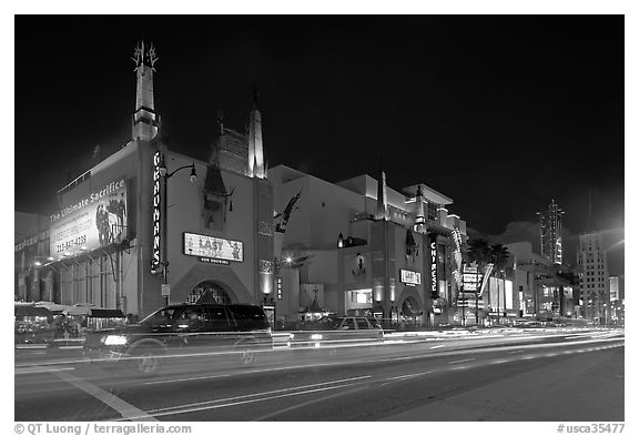 Mann Chinese Theatre at dusk. Hollywood, Los Angeles, California, USA (black and white)