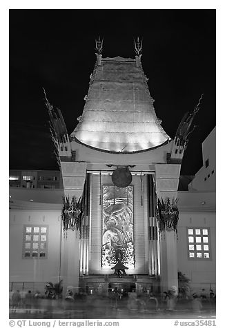 Main gate of Grauman Chinese Theatre at night. Hollywood, Los Angeles, California, USA (black and white)