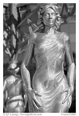 Statue of actress  Dorothy Dandridge. Hollywood, Los Angeles, California, USA (black and white)
