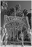 Gazebo with statues of Dorothy Dandridge, Dolores Del Rio, Mae West,  and Anna May Wong. Hollywood, Los Angeles, California, USA (black and white)