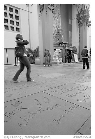 Footprints and handprints of Jack Nicholson in the Grauman theatre forecourt. Hollywood, Los Angeles, California, USA (black and white)