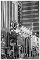 Facade of the El Capitan theater in Spanish colonial style. Hollywood, Los Angeles, California, USA (black and white)