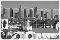 Downtown skyline. Los Angeles, California, USA (black and white)
