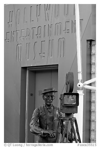 Entrance of the Hollywood Entertainment Museum. Hollywood, Los Angeles, California, USA (black and white)