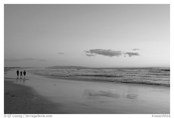 Beach at sunset. Santa Monica, Los Angeles, California, USA (black and white)