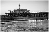 Pier at sunset. Santa Monica, Los Angeles, California, USA ( black and white)