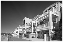 Row of colorful houses and beach promenade. Santa Monica, Los Angeles, California, USA (black and white)