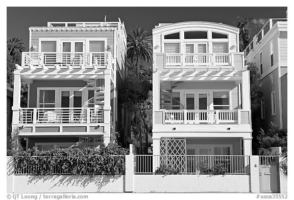 Colorful beach houses. Santa Monica, Los Angeles, California, USA (black and white)