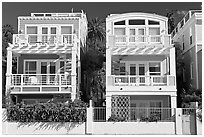 Colorful beach houses. Santa Monica, Los Angeles, California, USA ( black and white)