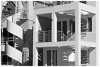 Facade of beach houses with spiral staircase. Santa Monica, Los Angeles, California, USA (black and white)