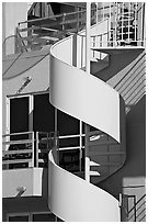 Detail of outdoor spiral staircase. Santa Monica, Los Angeles, California, USA (black and white)