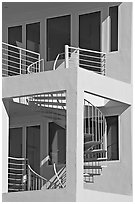 Spiral staircase and balconies on beach house. Santa Monica, Los Angeles, California, USA (black and white)