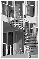 Facade detail of beach house with spiral stairway. Santa Monica, Los Angeles, California, USA ( black and white)