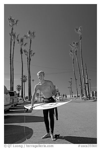 Surfer and palm trees. Venice, Los Angeles, California, USA (black and white)