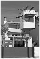 Beach house with lookout tower. Venice, Los Angeles, California, USA ( black and white)