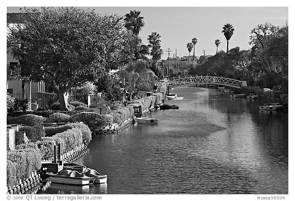 Residences along canals. Venice, Los Angeles, California, USA (black and white)
