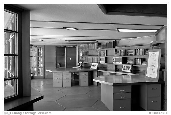 Library with fireplace,  Frank Lloyd Wright Honeycomb House. Stanford University, California, USA (black and white)