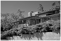 Facade and trees, Frank Lloyd Wright Honeycomb House. Stanford University, California, USA (black and white)