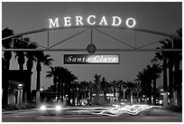 Entrance of the Mercado Shopping Mall at night. Santa Clara,  California, USA (black and white)