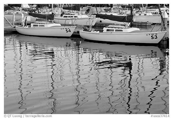 Marina reflections. Redwood City,  California, USA (black and white)