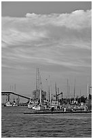 Port of Redwood and clouds at sunset. Redwood City,  California, USA (black and white)
