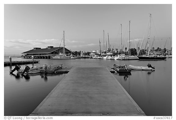 Deck and marina, sunset. Redwood City,  California, USA (black and white)