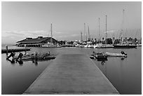 Deck and marina, sunset. Redwood City,  California, USA ( black and white)