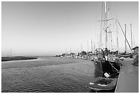 Yachts and Bair Island wetlands, sunset. Redwood City,  California, USA ( black and white)