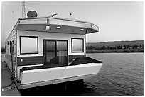 Houseboat, sunset. Redwood City,  California, USA (black and white)
