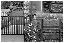 Hewlett-Packard garage and historical landmark sign. Palo Alto,  California, USA ( black and white)
