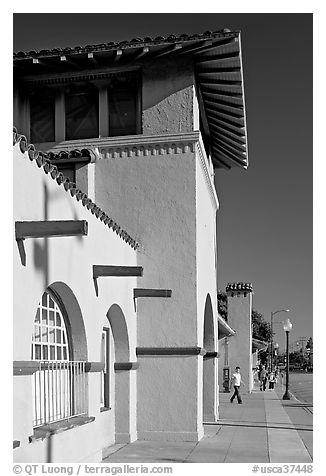 Burlingame historic train depot. Burlingame,  California, USA (black and white)