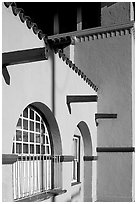 Detail of adobe style train depot. Burlingame,  California, USA (black and white)