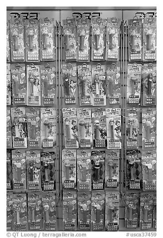 Pez candy and dispensers for sale, Museum of Pez memorabilia. Burlingame,  California, USA (black and white)