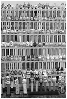 Collection of Pez dispensers, Pez museum. Burlingame,  California, USA ( black and white)